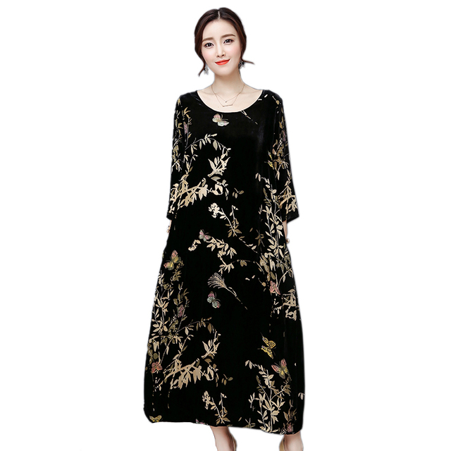 US $48.0 |XSJPZH Spring Autumn Three Quarter Sleeve Dress Women Vintage  Velvet Maxi Loose Dresses Female Plus Size Floral Vestidos YQ444-in Dresses  ...
