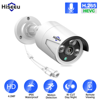 Hiseeu H.265 Audio Security IP Camera POE 4MP ONVIF Outdoor Waterproof IP66 CCTV Camera P2P Video Surveillance Home for POE NVR