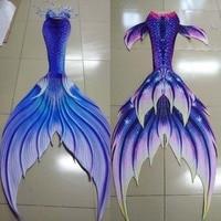 Customize Swimable Mermaid Tails with Monofin for Swimming Mermaid Cosplay Halloween Costumes Beach Artifact 3 Piece Bikinis Set