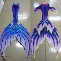 Customize Swimable Mermaid Tails with Monofin for Swimming Mermaid Cosplay Halloween Costumes Beach Artifact 3 Piece Bikinis Set