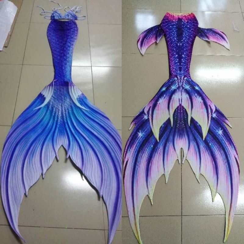 Personnaliser les queues de sirène nagables avec Monofin pour la natation sirène Cosplay Halloween Costumes plage artefact 3 pièces Bikinis ensemble