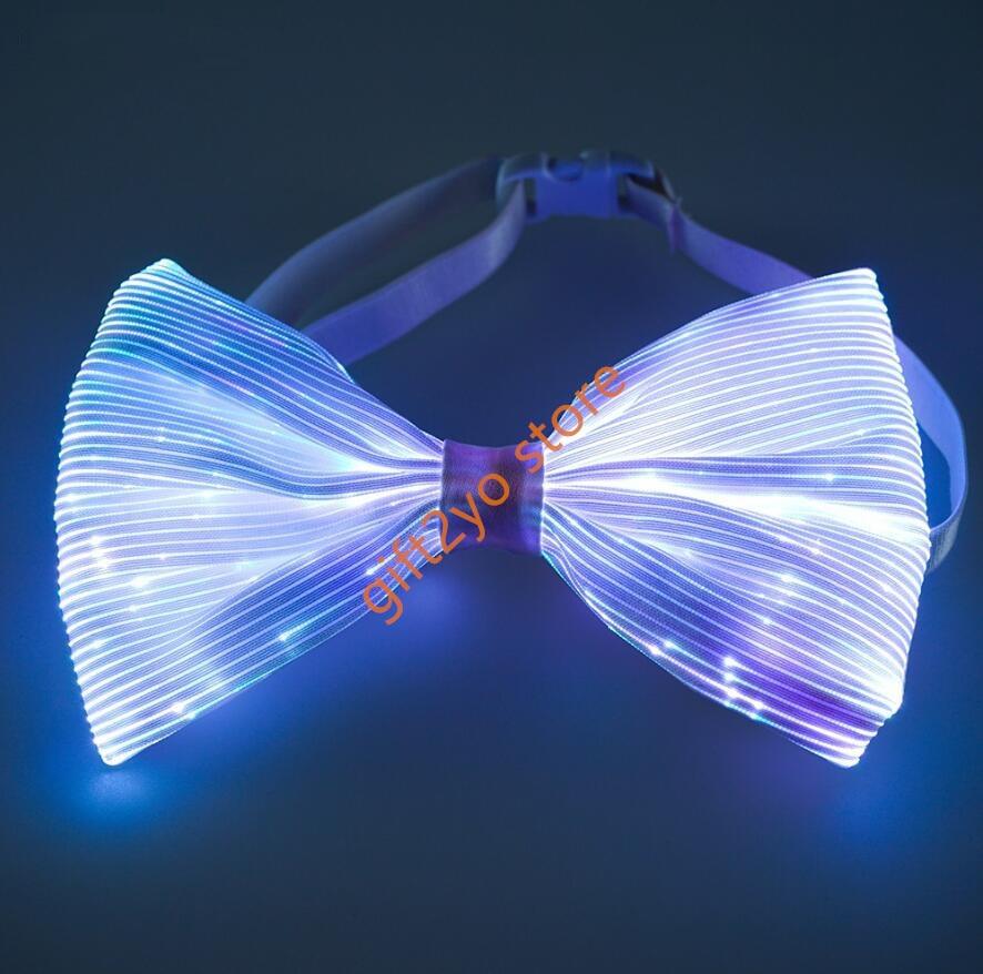 Light Up Bow Tie 7 Colors Changing LED Bowtie 1clienic USB Rechargeable Glow Luminous Tie Christmas Halloween Valentine Rave EDC EDM Music Festival
