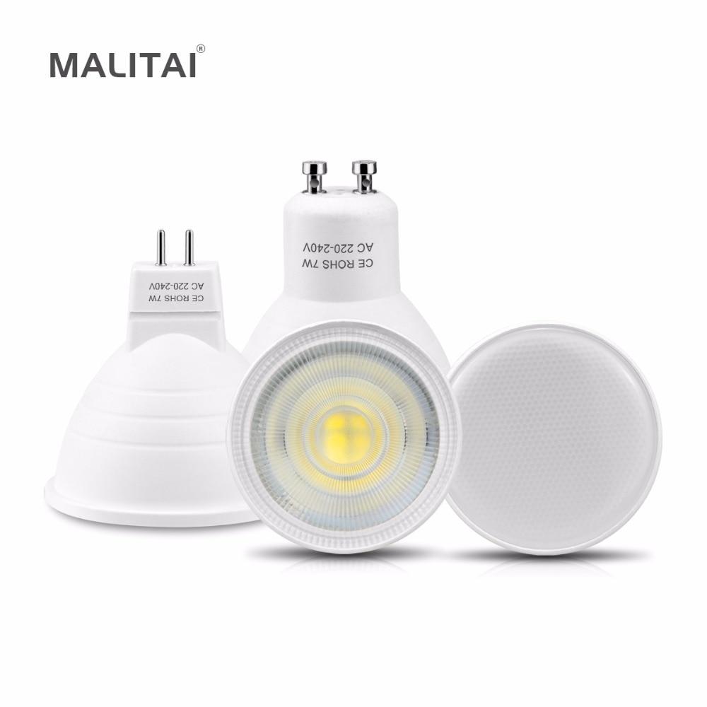 10 шт./лот GU10 Светодиодная лампа точечного светильника 7 Вт MR16 Светодиодная лампа 220 В нерегулируемая яркость огнестойкий алюминиевый охлажд...