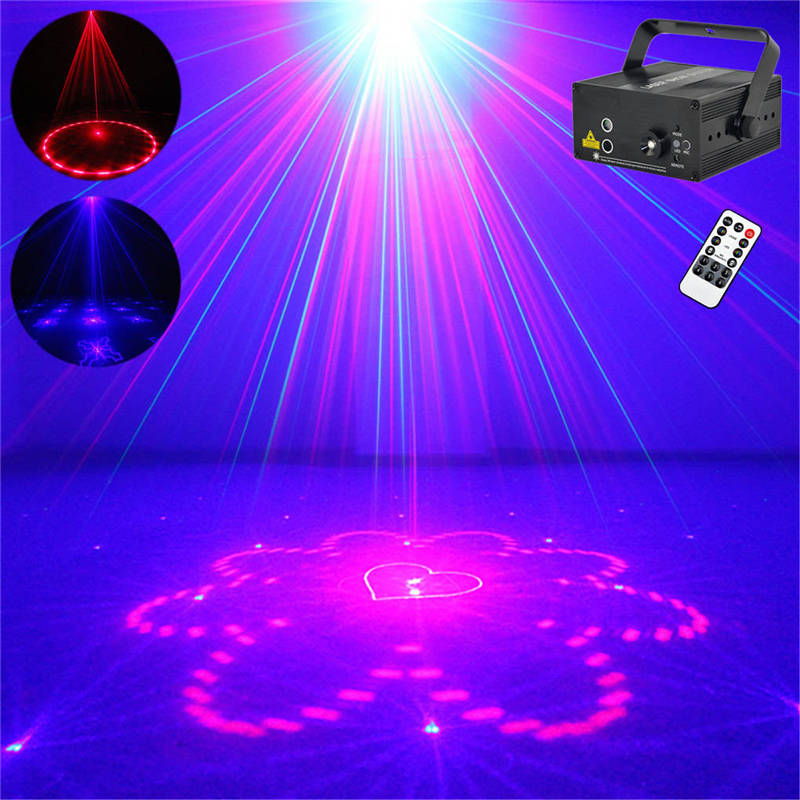AUCD Mini 2 Lens 40 Patterns Red Blue Laser Effect Projector 3W Blue LED Mixing Effect DJ KTV Party Stage Lighting Z40RB наушники pioneer se mx7 k