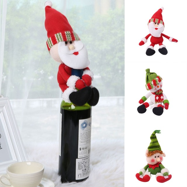 6a05f612feadc Christmas Wine Bottle Doll Cover Bags Santa Claus Snowman Elf Doll Champagne  Dinner Table Decoration Bottle Holder Xmas Decor