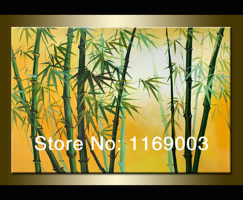 Cheap abstract modern canvas wall art hand painted large bamboo oil painting on canvas for