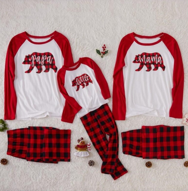 eed9ca39a466 Christmas Family Look Bear Plaid Christmas Pajamas Family Matching Outfits  Sleepwear Clothes Casual Family Clothing Sets AY