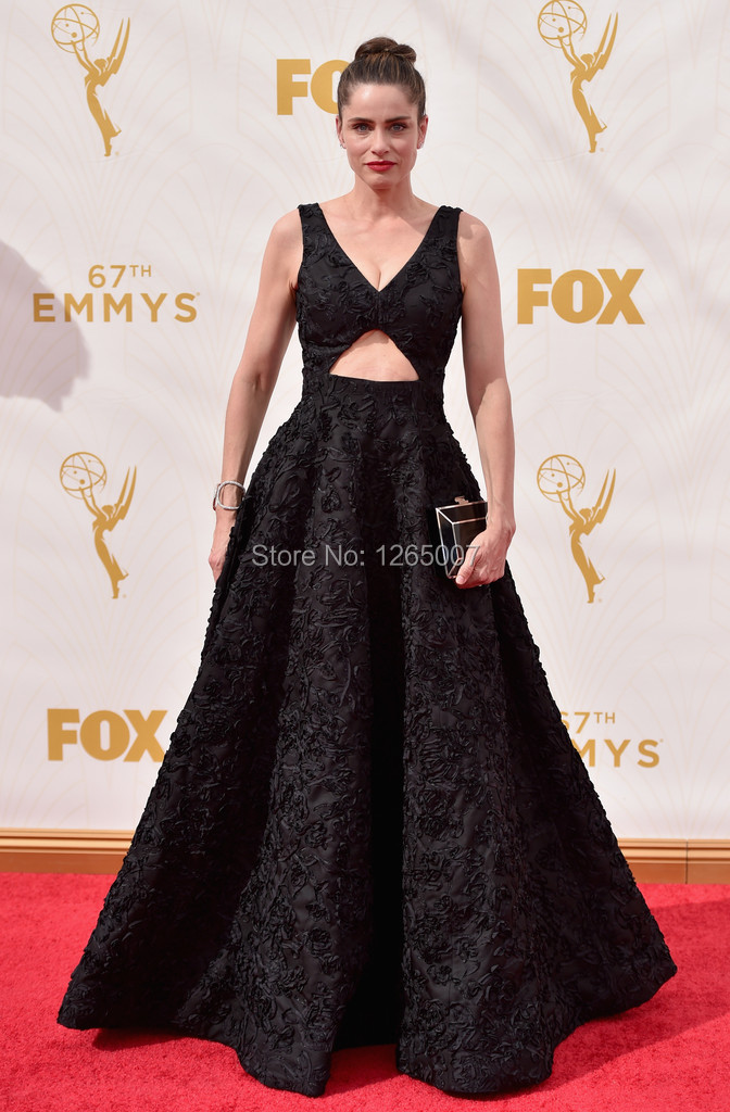 Amanda Peet Kleid V Neck Keyhole Vorderseite A Line Long Black ...