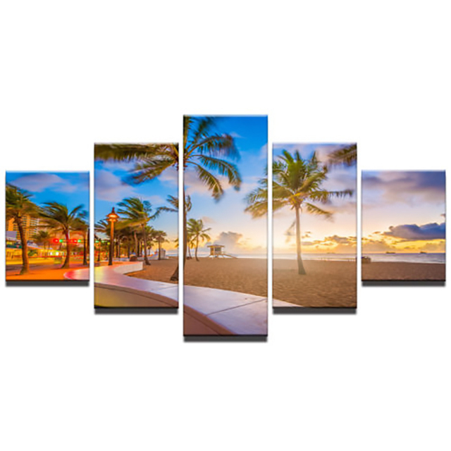 Fort Lauderdale Beach Canvas Print Painting Framed Home Wall Decor Art Poster 5P printed painting dorp shipping