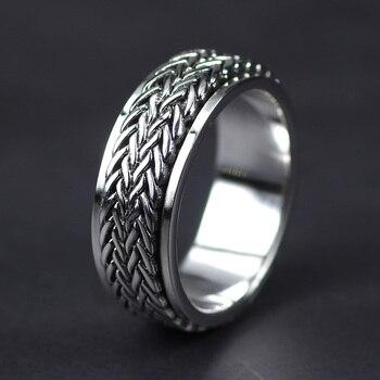 ce859bb72845 Joyería de plata esterlina 925 anillos giratorios hechos a mano para hombres  y mujeres Vintage tailandés plata cáñamo cuerda diseño anillo para hombre
