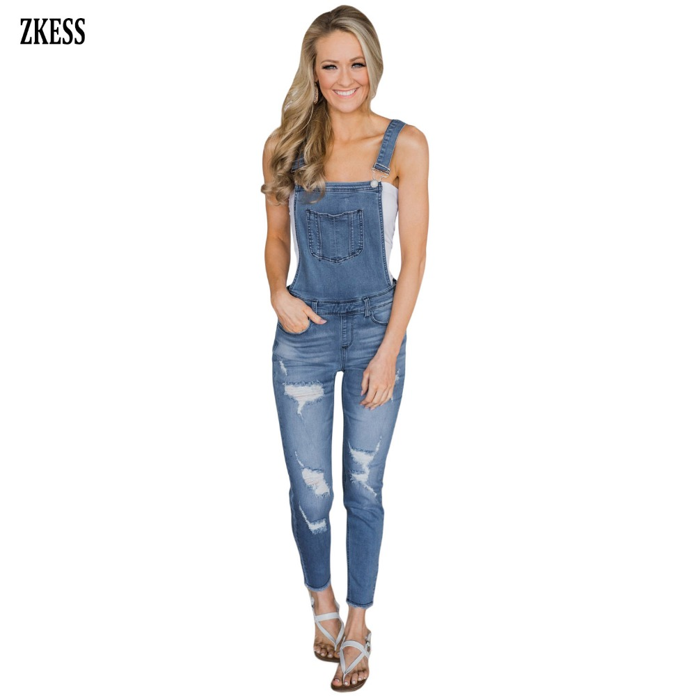 Zkess Woman New Denim Blue Wash Hole Distressed Jeans Casual Hammock Neck Safari Style Overalls Bottoms With Pockets Lc786029