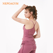 Nepoagym Women Yoga Top Back Meshed Panel Sport Bra with Support Pad Gym Running Clothes Quick Dry Fitness