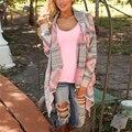 Женская мода Свитера Кардиган Пальто Осень Зима Печатные для женщин Плечами Свитер Нерегулярные Свободные Блузки Геометрический Узор Вязать