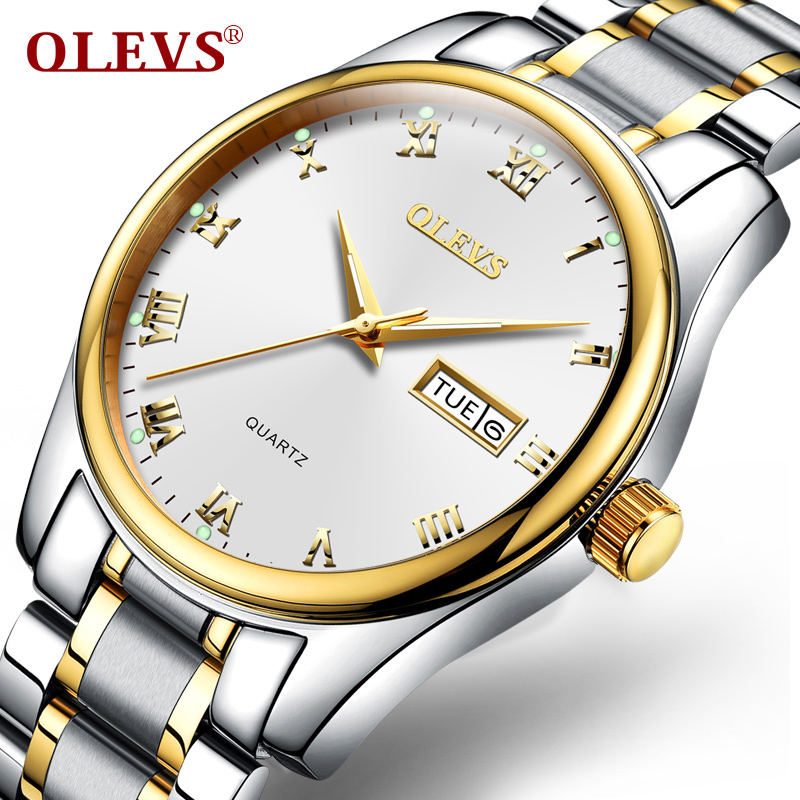 OLEVS Fashion Men Watch Rose Gold Luxury Watches Quartz Luminous Auto Date Stainless Steel Wristwatch Mens reloj hombre 2018