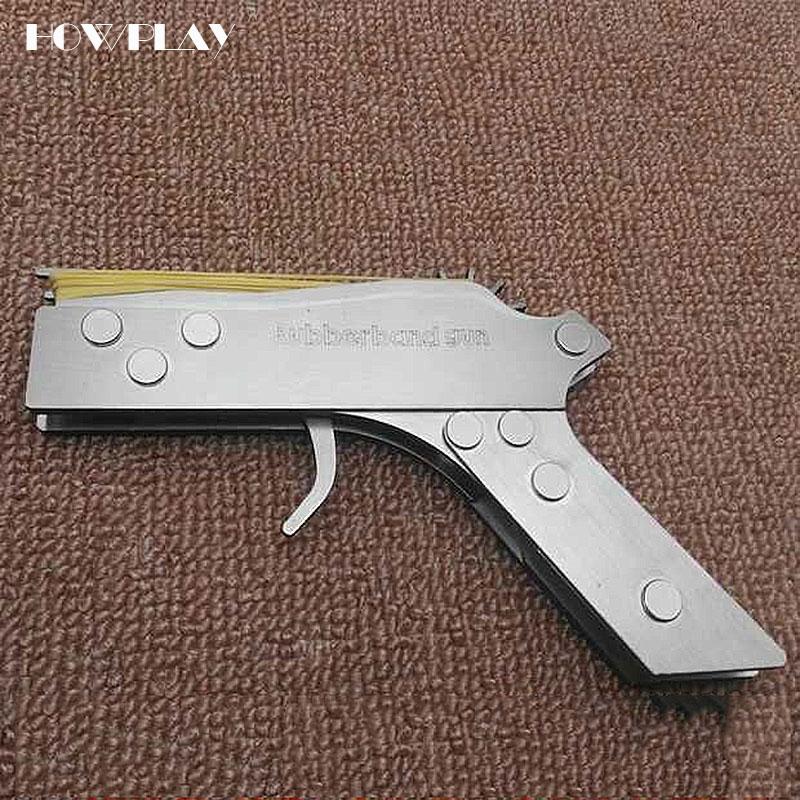 HowPlay métal mini ubber bande pistolet continuous12 éclats de balles pousse extérieure jouets pistolet pliable en acier inoxydable pistolet garçon cadeau