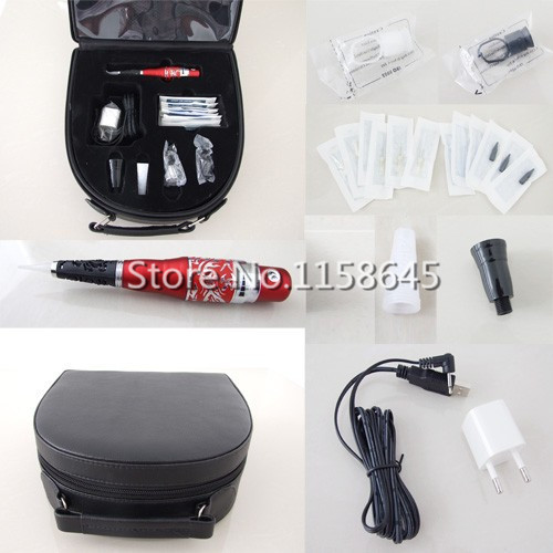 1 Sets Digital Professional Permanent Makeup Kit Tattoo Eyebrow Lip Pen Machine + Needles Tips Case Cosmetic Supply Hot DHL #j professional permanent makeup tattoo eyebrow pen machine 50 needles tips power supply set us plug drop shipping wholesale