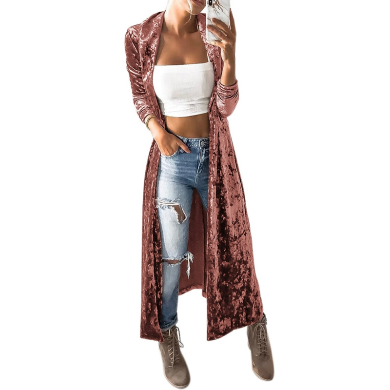 Elegant Velvet Cardigan Women Long Sleeve Velvet Long Outwear High Street Fashion Female Long   Trench   Coat slim 2018 Autumn 3164