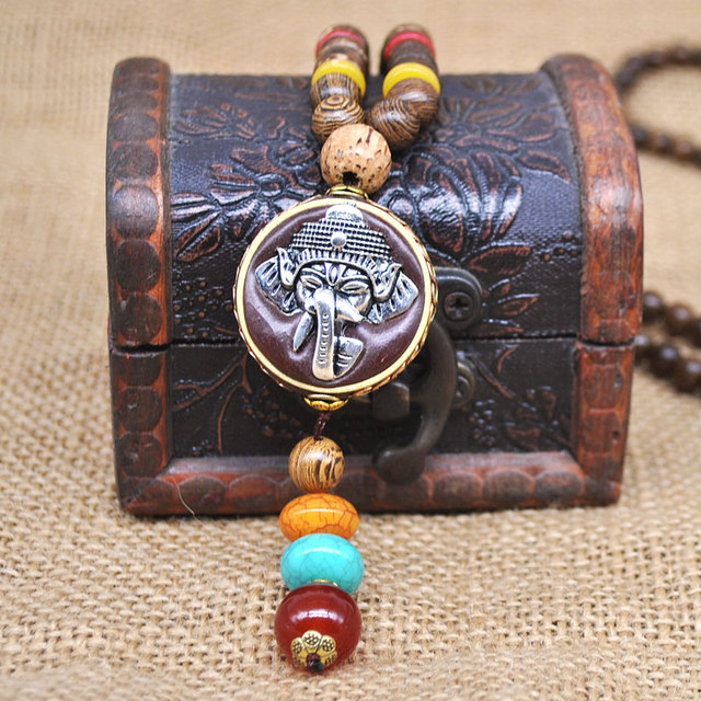 Yumfeel Handmade Nepal Jewelry Buddhist Mala Wood Beads Pendant Necklace Ethnic Horn Fish Long Statement Necklace For Women Men 4