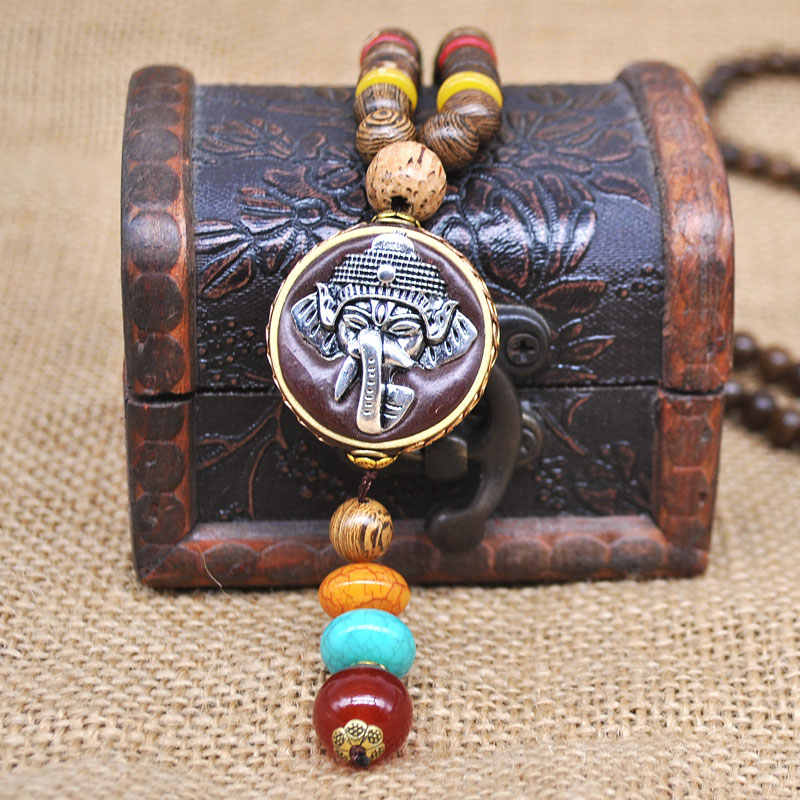 Yumfeel Handmade Nepal Jewelry Buddhist Mala Wood Beads Pendant Necklace Ethnic Horn Fish Long Statement Necklace For Women Men
