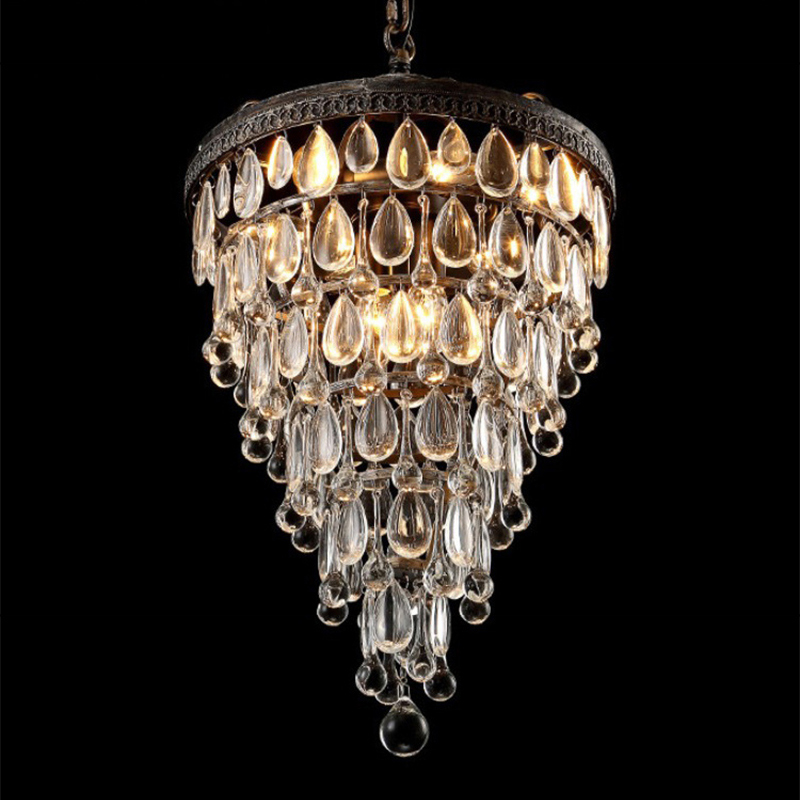 Image 3 - Retro vintage cooper crystal drops E14 LED chandeliers/LARGE European EMPIRE STYLE lustres chandelier Lighting for living room-in Chandeliers from Lights & Lighting