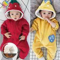 Lemonmiyu Cartoon Winter Rompers For Newborn New Years's Suit Cute Strawberry Thicken Winter Baby Romper Infant Cotton Jumpsuits