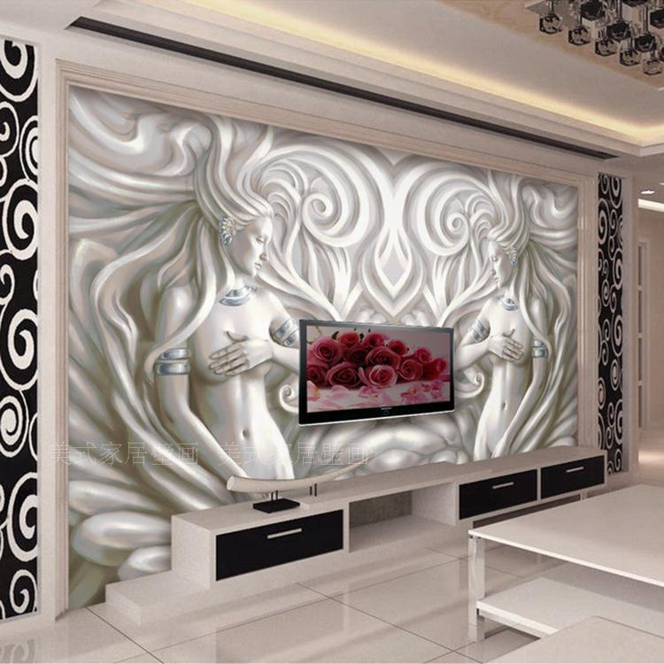 free shipping 3d relief sculpture mural living room sofa tv background wall bedroom bathroom coffee house