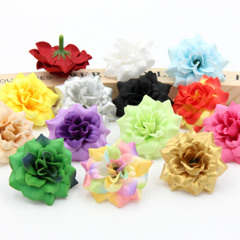 10PCS/Lot Rich and colorful Artificial Rose Silk Flower Head For Wedding Decoration DIY Wreath Gift Decorative Craft Flower