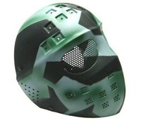 Airsoft Hockey Eye Mesh Hard Plastic Full Face Cover Mask Green Mixed Color