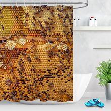 Штора для ванной комнаты с золотым улей медовые пчелы животное
