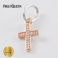 FirstQueen Silver 14k Rose Gold Symbol Of Faith Cross Religion Charm Fit Bracelets DIY Pendants Jewelry