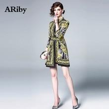 ARiby Women Elegant Vintage Printed Mini Dress 2019 Spring Summer New Fashion Court Totem Three Quarter Sleeve Slim A-Line