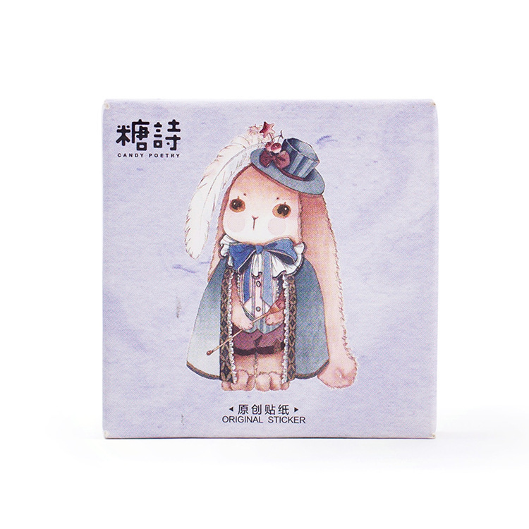45PCS/box Creative Magic Rabbit Album Paper Lable Stickers Crafts And Scrapbooking Decorative Lifelog Sticker Cute Stationery