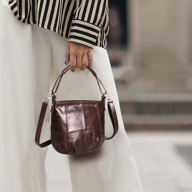Cobbler Legend Vintage Bucket Handbags Women Shoulder Bag Genuine  Leather Women Totes Shopping Bag Brand Designer Purse FemaleTop-Handle  Bags