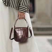 Cobbler Legend Vintage Bucket Handbags Women Shoulder Bag Genuine Leather Women Totes Shopping Bag Brand Designer Purse Female