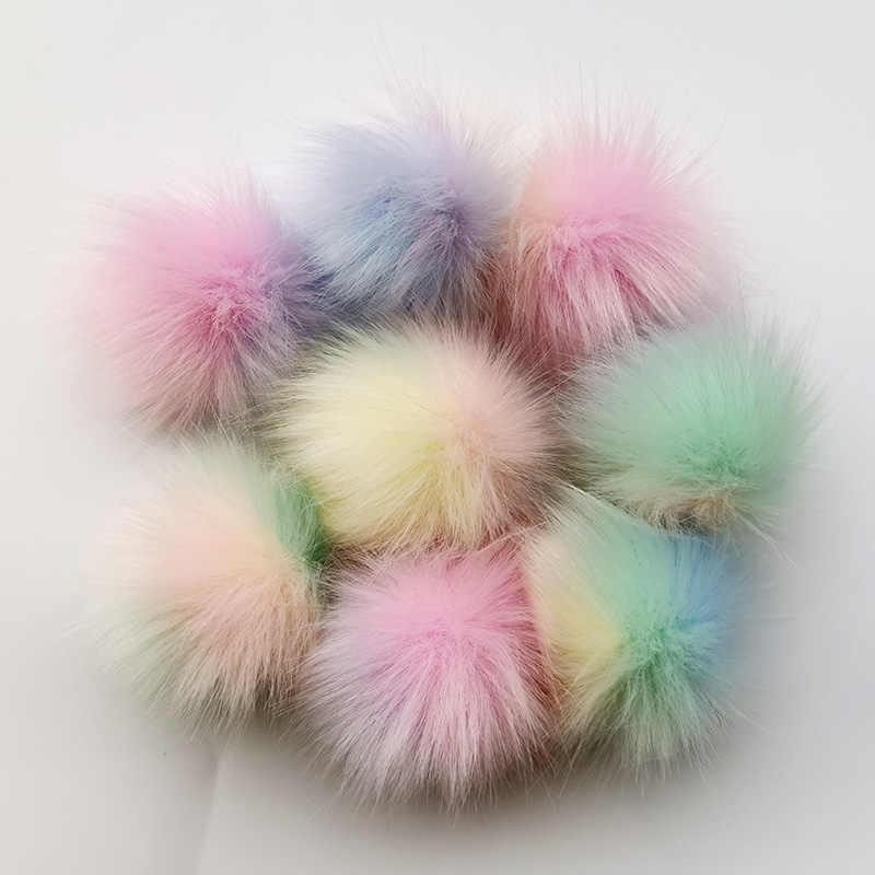 1 pc 6 7 7 cm pequeno colorido bolas de lã artificial raposa-como immitação bola de pele chaveiro diy roupas sapatos studs orelha
