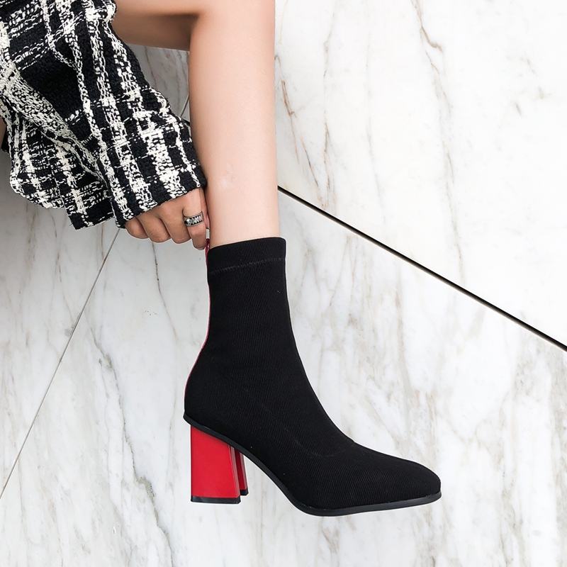 2019 Spring New Elastic Sock Boots With Heel Stretch Boots Sock Heels Autumn Knitting Boot Lady Mid calf Boot Women botas mujer in Ankle Boots from Shoes