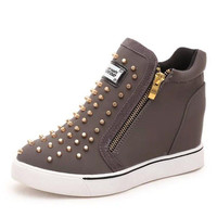Women Height Increasing Casual Shoes Woman Rivet Wedge Leisure Shoes Zip Suede Leather Shoes Footwear Chaussure