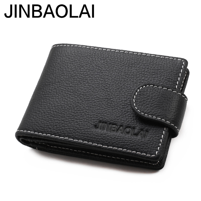 Original Brand JINBAOLAI Genuine Leather Men Wallets Business Short Solid Hasp Male Card Purse Designer Cow Leather Mens Wallet frank buytendijk dealing with dilemmas where business analytics fall short