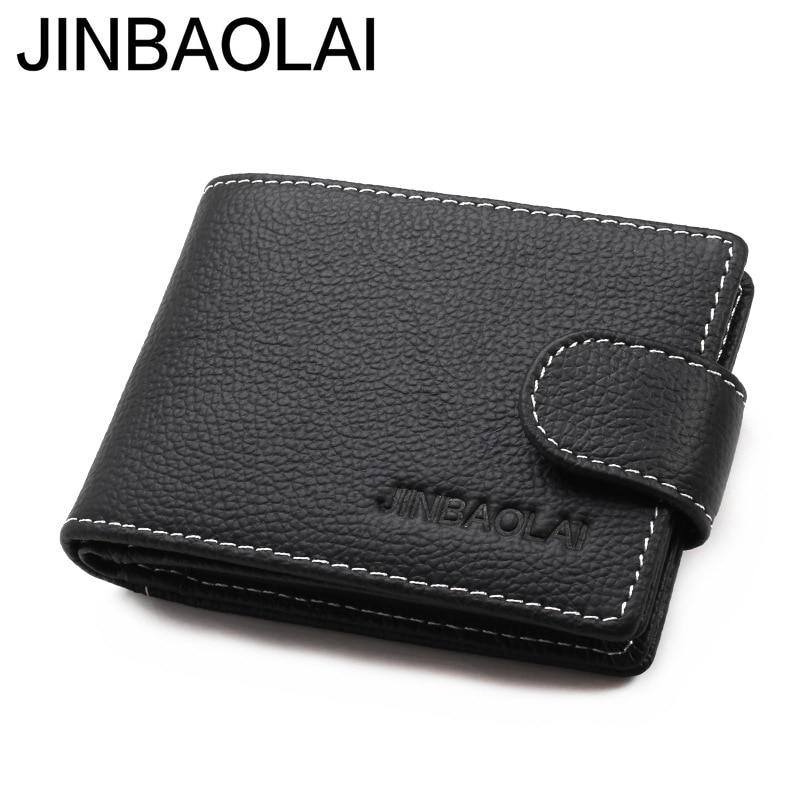 Original Brand JINBAOLAI Genuine Leather Men Wallets Business Short Solid Hasp Male Card Purse Designer Cow Leather Mens Wallet