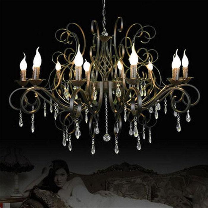 Liels un grezns melns rūpnieciski kaltas dzelzs lustra E14 sveču gaismas Vintage kristāla mājas lustras dzīvojamā istaba 10 rokas