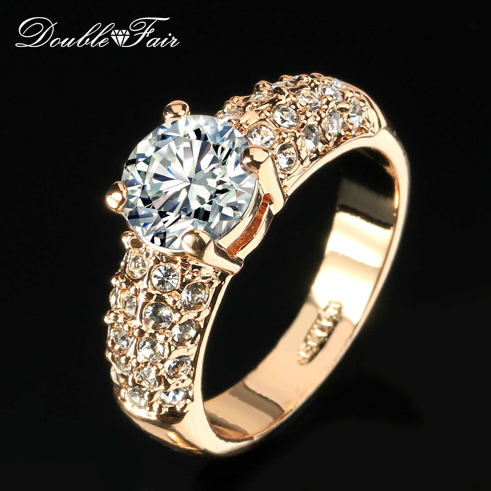 Double Fair Engagement Wedding Rings Cubic Zirconia Silver/Rose Gold Color CZ Stone Ring Jewelry For Women anel HotSale DFR105