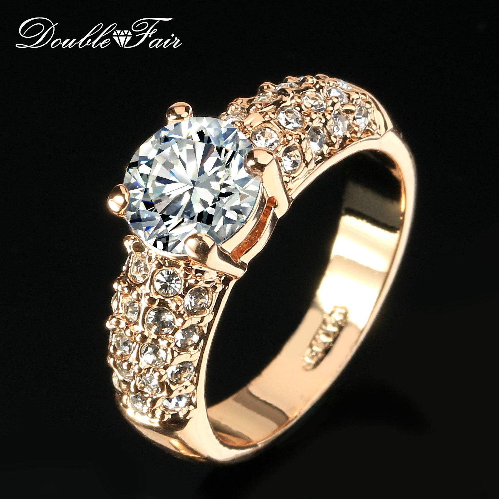 Double Fair Engagement Wedding Rings Cubic Zirconia Silver Rose Gold Color Cz Stone Ring Jewelry For Women Anel Whole Dfr105 In Bands From