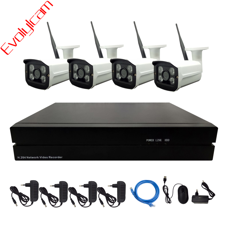 Evolylcam 4CH Wireless 1MP 720P Wifi IP Camera CCTV System Network Alarm Surveillance NVR Outdoor Security P2P HD Camera Kit