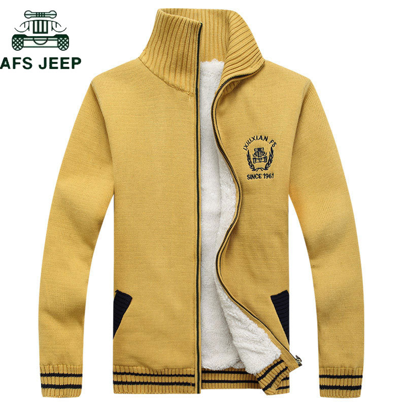 AFS JEEP Brand Autumn Winter Thick Fleece Mens Sweaters Cotton Wool Knitwear Cardigan Masculino Sweater Hombre Plus Size 3XL