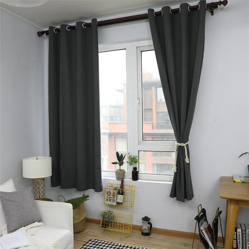 Black Nordic Style Linen Cotton Blackout Curtains For
