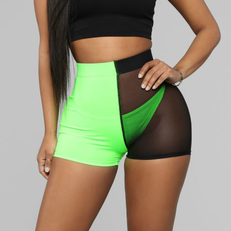 Sexy Green Black Mesh Patchwork See Through High Waist   Short   Booty   Shorts   Women Summer Joggers Ladies Bodycon Slim Biker   Shorts