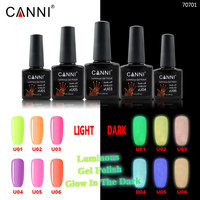 #70701 CANNI Newest nail art design varnish nail gel lacquer neon color glow in the dark luminous fluorescent uv nail gel polish