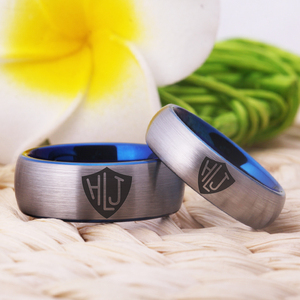 """Image 3 - YGK מותג 8 מ""""מ/6 מ""""מ מט כסף כחול מחוץ בתוך טונגסטן קרביד טבעת ספרדית CTR טבעת HLJ עיצוב טבעת"""