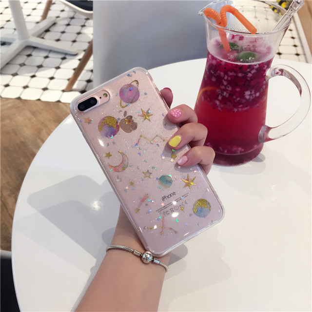 Star And Moon Glitter - Clear Transparent Case 3