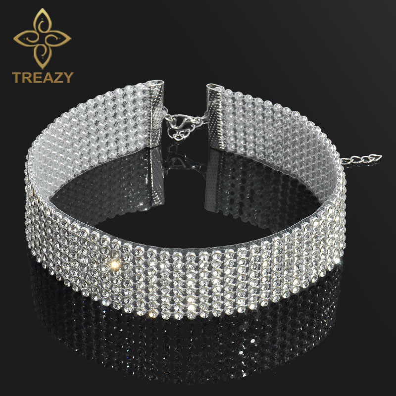 TREAZY Sparkly Crystal Rhinestone Choker Necklace Women Wedding Accessories Silver Punk Gothic Chokers Jewelry Collier Femme